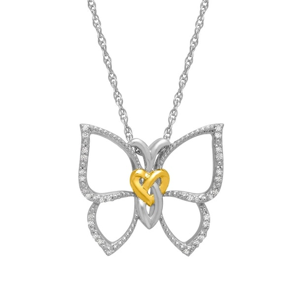 1/10 ct Diamond Butterfly Pendant in 14K Gold-Plated Sterling Silver