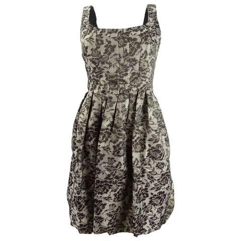 London Times Women's Floral Lace Metallic A-Line Dress (8P, Black/Gold) - Black/Gold - 8P