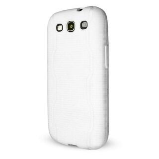 Technocel Textured Slider Skin with Line Pattern for Samsung Galaxy S3 - White