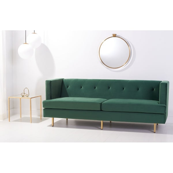 "Safavieh Couture Konrad Velvet Tufted Sofa - 82"" W x 31.5"" L x 31.3"" H. Opens flyout."