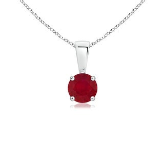 Angara Prong Set Round Ruby Solitaire Pendant - Red