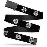 Blank Black  Buckle Winchester Pentagram Repeat Black White Webbing Web Belt