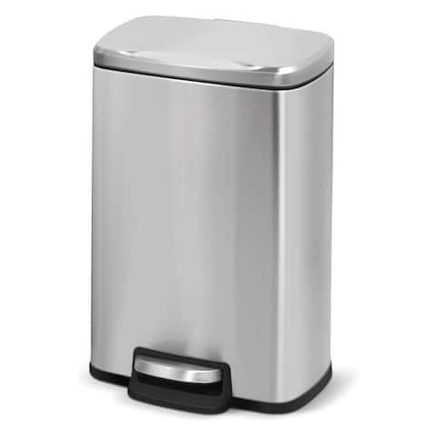 Innovaze 1.3 Gallon Stainless Steel Step Rectangular Bathroom and Office Trash Can
