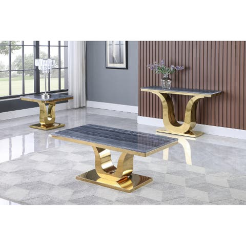 Best Quality Furniture Stainless Steel Grey Marble Coffee Table Sets