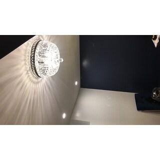 Elisa 4-light Antique Black and Crystal Flushmount Chandelier