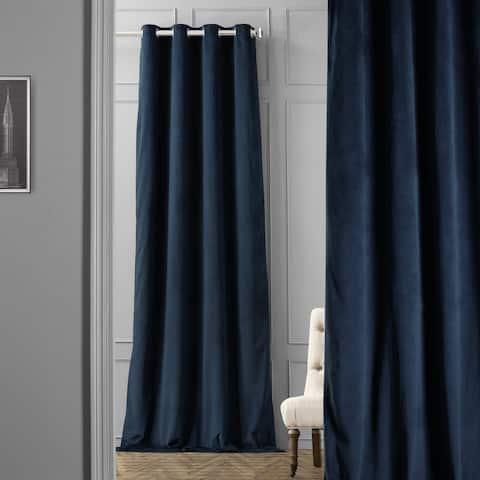 EFF Midnight Blue Grommet Velvet Blackout Single Curtain Panel