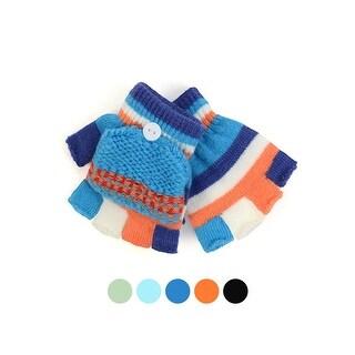 Children's Striped Knit Convertible Winter Mitten Gloves