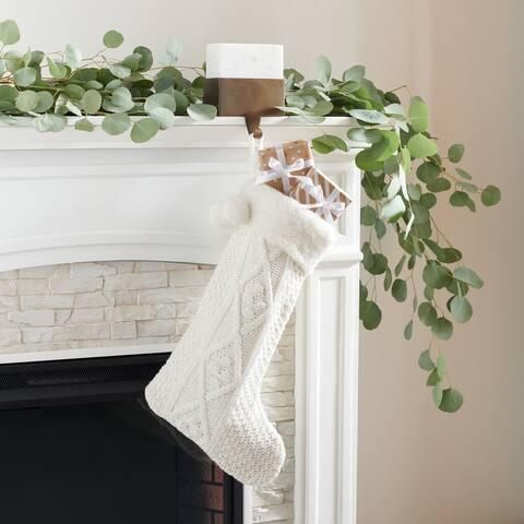 "SAFAVIEH Holiday Cookie White Hanging Knit Pom-Pom Stocking (Set of 2) - 12"" W x 20"" L"
