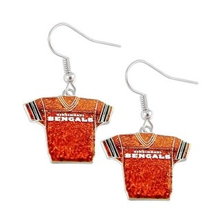 NFL Cincinnati Bengals Glitter Jerseys Sparkle Dangle logo Earring Set Charm Gift