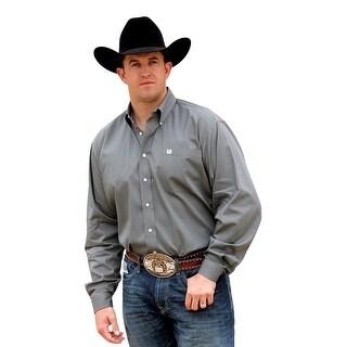 Cinch Western Shirt Mens Long Sleeve Square Weave Gray