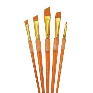 Royal Brush Big Kids Choice Deluxe Angular Synthetic Paint Brush Set, Assorted Size, Orange, Set of 5