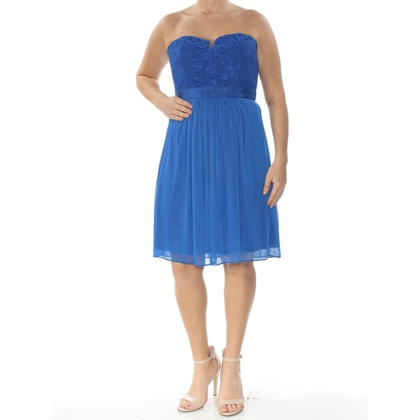ADRIANNA PAPELL Womens Blue Strapless Above The Knee Empire Waist Formal Dress Size: 12