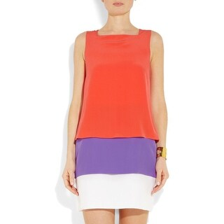 Gucci Layered Colorblock 100 Percent Silk Sleeveless Dress - 4