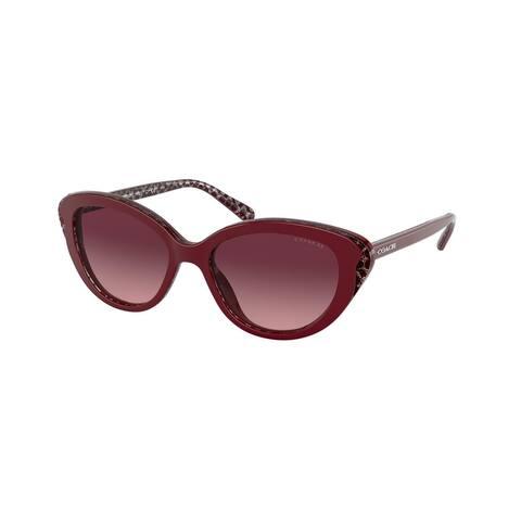 Coach HC8288 55848H 52 Burgundy Glitter Signature C Woman Cat Eye Sunglasses
