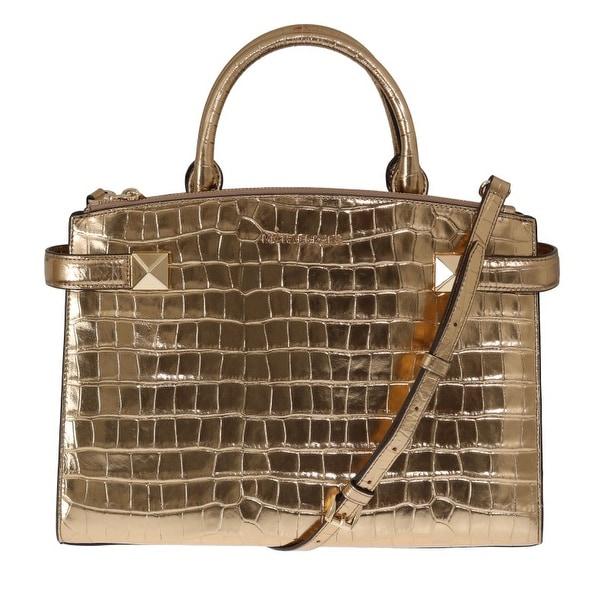 Shop Michael Kors Gold Karla Embossed Leather Satchel
