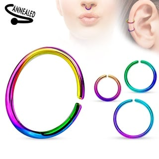 Annealed and Round Ends Titanium Anodized over Surgical Steel Cut Ring - 18GA (Sold Ind.)