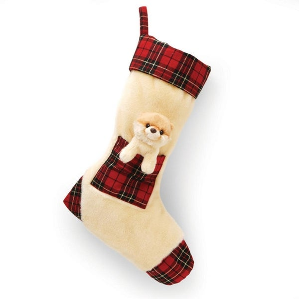 "15"" Boo the World's Cutest Dog Soft Plush Plaid and Tan Christmas Stocking - brown"