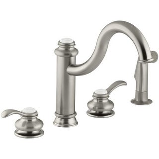 Kohler K-12231 Double Handle Kitchen Faucet with Metal Lever Handles and Sidespray from the Fairfax Series