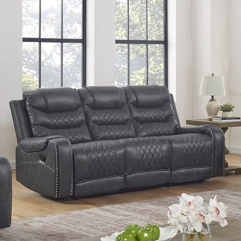 Klens Faux Leather Reclining Sofa with Nailhead Trim and USB Port