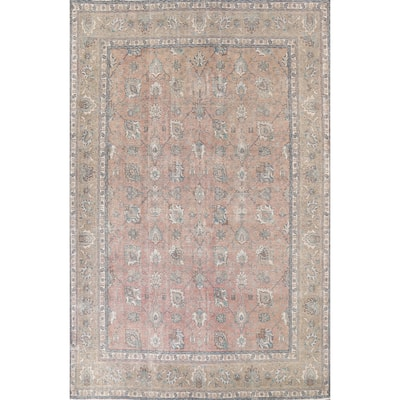 """Distressed Floral Tabriz Persian Area Rug Hand-knotted Wool Carpet - 9'8"""" x 12'6"""""""