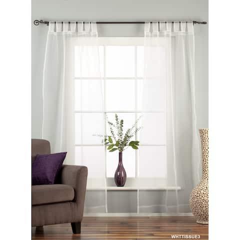 "White Tab Top Sheer Tissue Curtain / Drape / Panel - 84"" - Piece - 43 X 84 Inches (109 X 213 Cms)"
