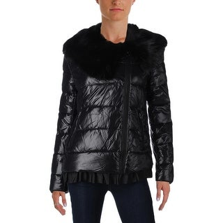 Betsey Johnson Womens Coat Faux Fur Trim Long Sleeves