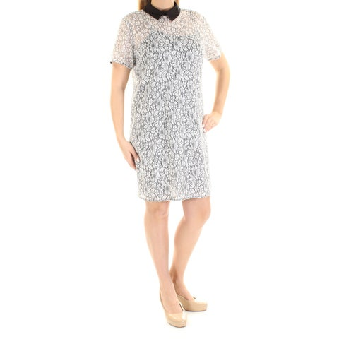 Womens Black White Short Sleeve Above The Knee Sheath Cocktail Dress Size: 14