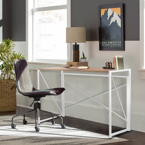 NOVA FURNITURE Home Office Computer Desk, Writing Desk with Natural Desktop
