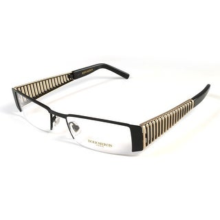 Boucheron Unisex Semi-Rectangle Eyeglasses Black/Gold - S