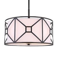 "Woodbridge Lighting 17120-S117A1 Regan 3 Light 17"" Wide Full Sized Single Pendant with Fabric Shade and Metal Cage"