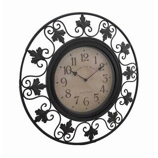 Scrolling Leafy Vine Black Metal Outdoor Wall Clock 23 in.