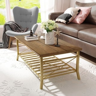 """Link to Farmhouse Coffee Table with Storage Shelf for Living Room - L48""""X W24""""X H18"""" Similar Items in Living Room Furniture"""