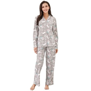 Richie House Women's Knit Flannel Pajama Set with Pants