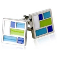 Patchwork Blue Green White Square Cufflinks