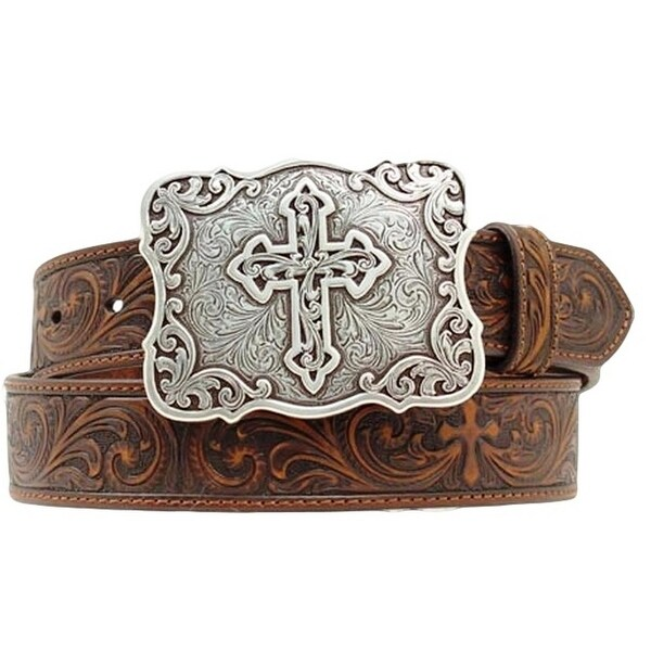 Nocona Western Belt Womens Leather Embossed Cross Espresso