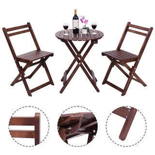 Costway 3 Piece Table Chair Set Wood Folding Outdoor Patio Garden Pool Furniture Brown
