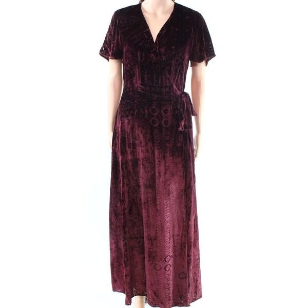 c1e547e1ee Shop Polo Ralph Lauren Burgundy Women Velvet Wrap Maxi Dress - On ...