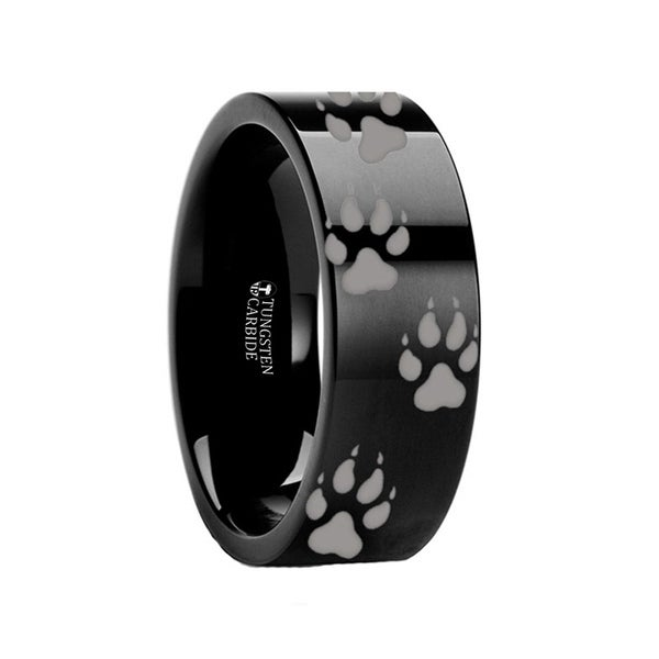 THORSTEN - Animal Track Wolf Print Ring Engraved Black Tungsten - 4mm