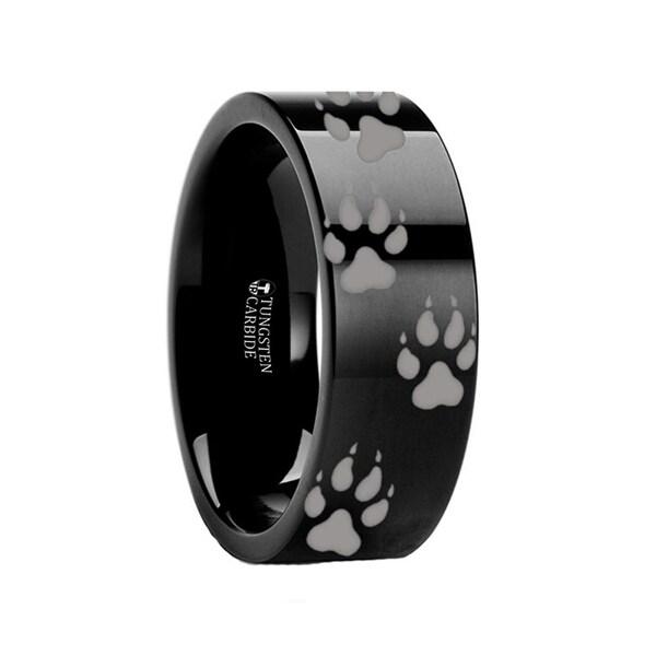THORSTEN - Animal Track Wolf Print Ring Engraved Black Tungsten - 6mm