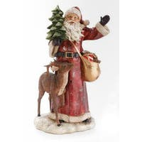 "16.75"" Woodland Inspirations Santa Claus with Deer and Christmas Tree Figure - RED"