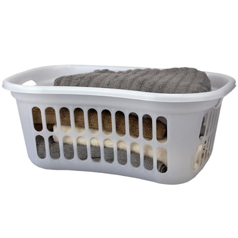 Curved Hip Holding Large Lightweight Laundry Basket with Handles, White