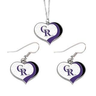 Colorado Rockies  MLB Glitter Heart Necklace and Earring Set Charm Gift
