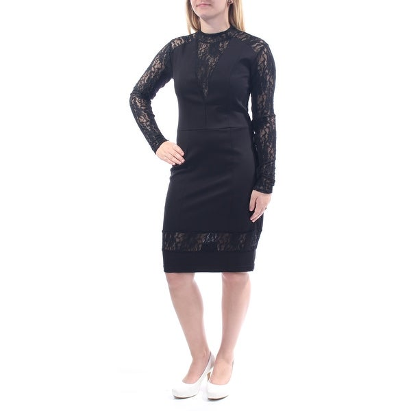 1c8a23d20b59 Shop RACHEL ROY Womens Black Lace Long Sleeve Mandarin Collar Knee Length  Wear To Work Dress Size: S - On Sale - Free Shipping On Orders Over $45 ...