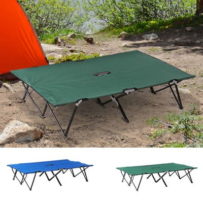 Outsunny Portable Wide Folding Elevated Bed Camping Cot for Adults with Easy Carry Bag & Durable Fabric, Green