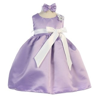 Baby Girls Lilac White Sash Dull Satin Flower Girl Headband Dress 6-24M