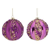 "12ct Purple with Gold Sequins Glass Christmas Ball Ornaments 4"" (100mm)"