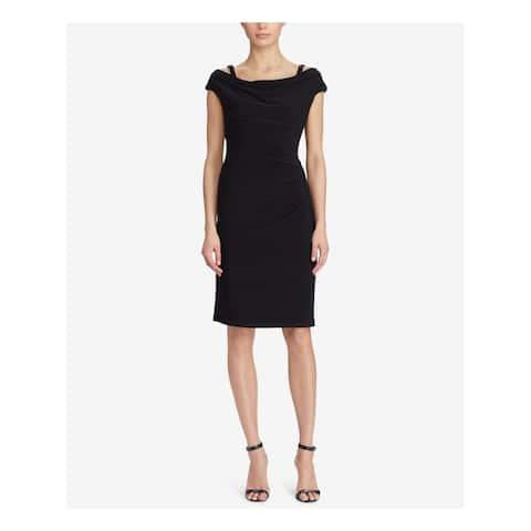 RALPH LAUREN Womens Black Ruched Sleeveless Cowl Neck Knee Length Sheath Cocktail Dress Size: 14