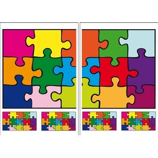 Brewster DM74106  Variable Sized - Puzzle - Self-Adhesive Repositionable Vinyl Wall Decal - Set of 22