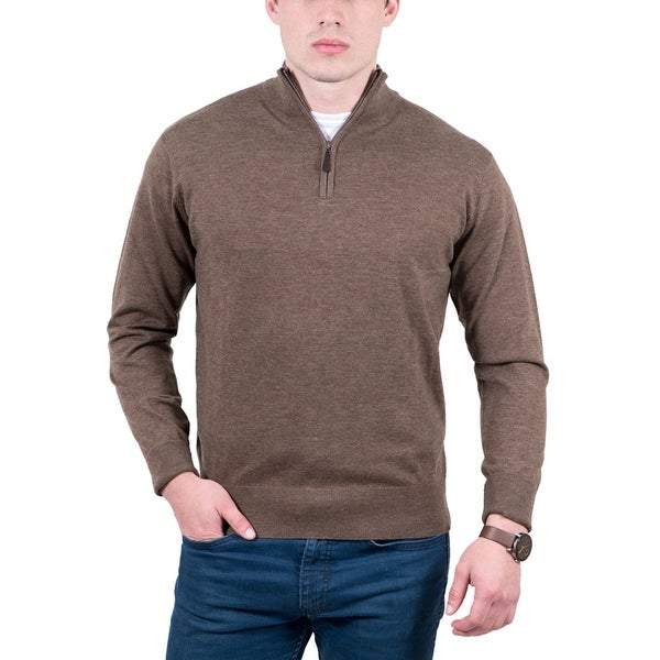 Real Cashmere Brown Half Zip Cashmere Blend Mens Sweater