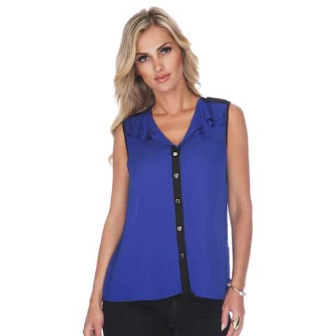 Elegant Lightweight Button up V-Neck - Blue